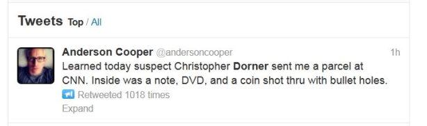 anderson cooper tweet crazy la cop coin