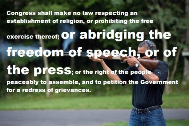 obama shotgun picture with first amendment 2