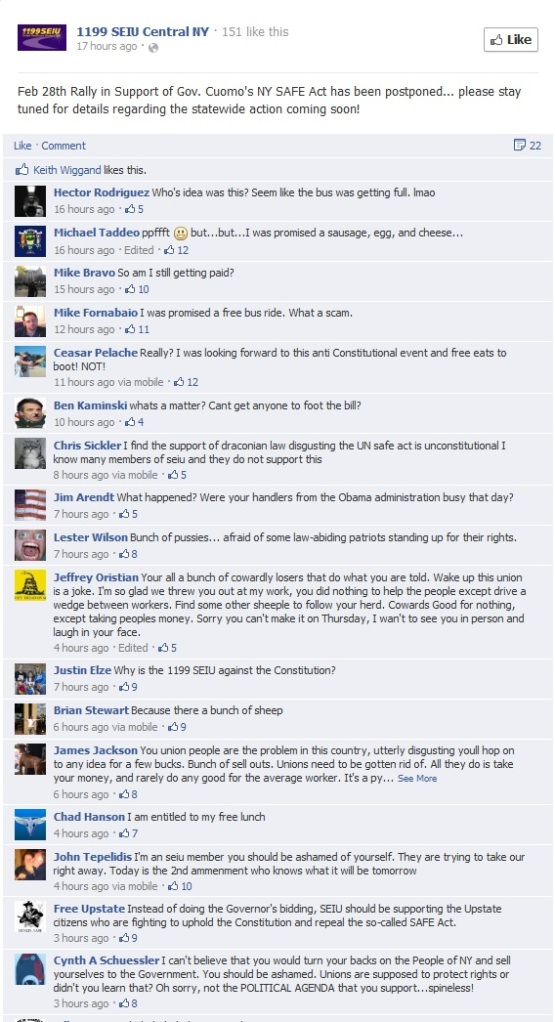 seiu lobbying for gun control ny 130224 postponed facebook