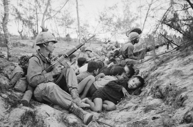 American Soldiers Protecting Vietnamese Children