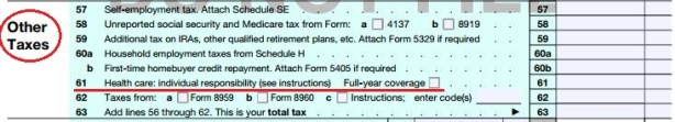 IRS 1040 obamacare tax via americans for tax reform