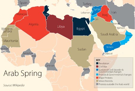 the seven phases of the base on schedule arab spring map
